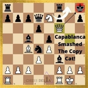 Capablanca vs the opponent copy cat game final position